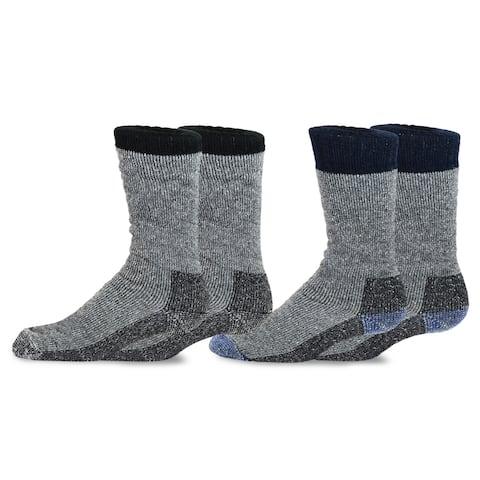 TeeHee Heavyweight Outdoor Wool Thermal Boot Socks for Men 2-Pack (Black and Navy)