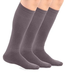 TeeHee Bamboo All Sports Half Cushion Socks with Arch Support 3-Pairs Pack (Grey)