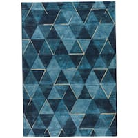 "Jaeger Geometric Dark Blue/ Indigo Area Rug (7'10"" X 10'10"") - 7'10"" x 10'10"""