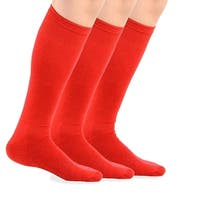 TeeHee Bamboo All Sports Half Cushion Socks with Arch Support 3-Pairs Pack (Red)