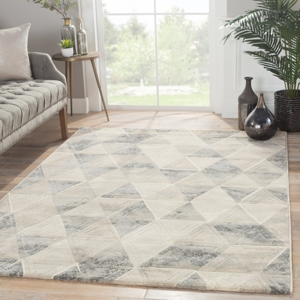 "Jaeger Geometric Gray/ Blue Area Rug - 7'10"" x 10'10"""