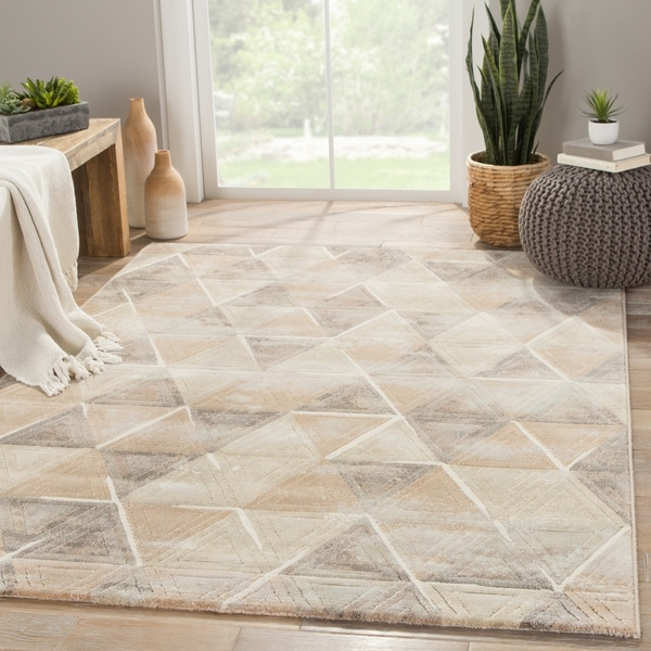 "Jaeger Geometric Tan/ Gray Area Rug (7'10"" X 10'10"") - 7'10"" x 10'10"""