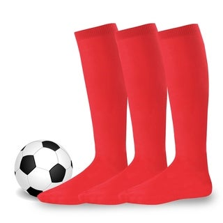 Soxnet Cotton Unisex Soccer Sports Team Flat Knit Socks 3 Pack (Red)