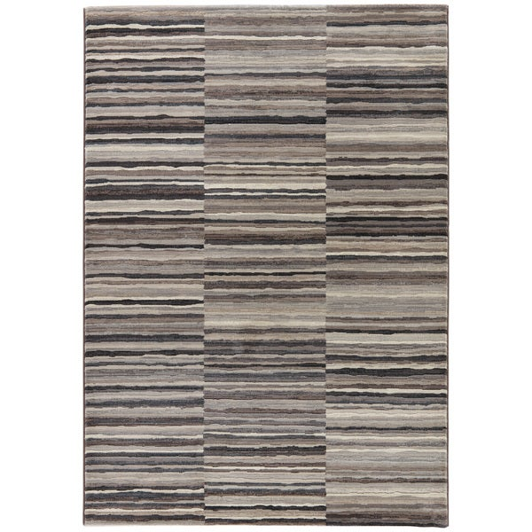 "Vermilion Stripe Taupe/ Brown Area Rug - 7'10"" x 10'10"""