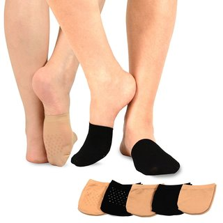 TeeHee Womens Seamless Toe Topper Liner Socks 5-Pack with Non-Skid Bottom