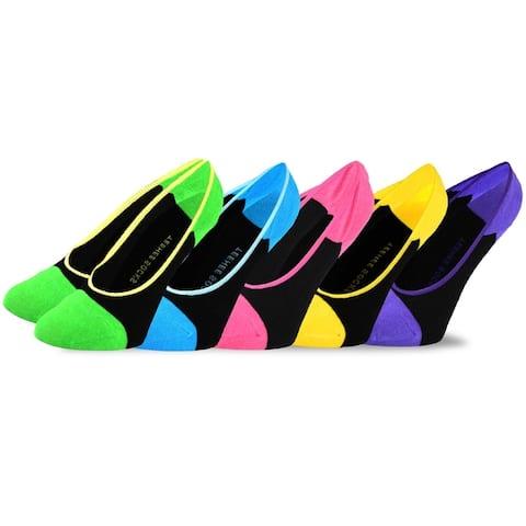 TeeHee Footies Womens Hidden Cotton Liner Socks with Non-Skid 5-Pack