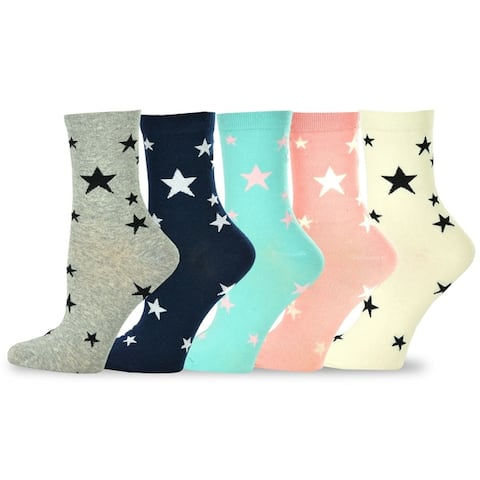 TeeHee Womens Value 5-pack Cotton Crew Socks