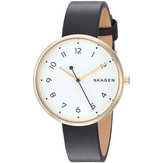 Skagen Women's SKW2626 'Signatur' Black Leather Watch|https://ak1.ostkcdn.com/images/products/16105448/P22487728.jpg?impolicy=medium