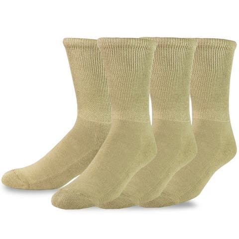 TeeHee Viscose from Bamboo Diabetic Crew Socks 3-Pack (Tan)