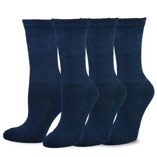 TeeHee Viscose from Bamboo Diabetic Crew Socks 3-Pack (Navy)