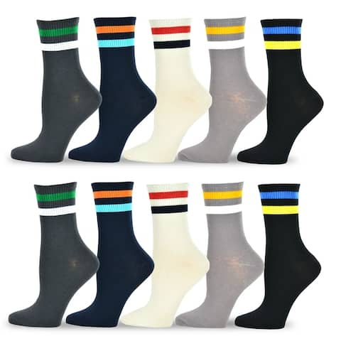 TeeHee Womens Value Multicolored Cotton Crew Socks 10 pack