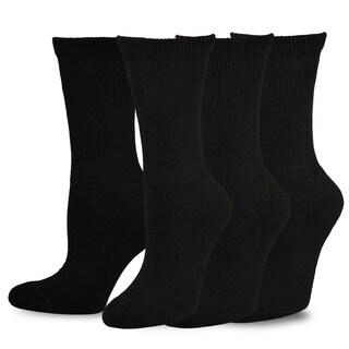 TeeHee Viscose from Bamboo Diabetic Crew Socks 3-Pack (Black)