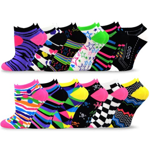 TeeHee Socks Women's Acrylic No Show Low Cut 12-Pack Multi Color