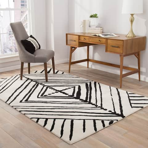 "Nikki Chu Gemma Handmade Abstract White/ Black Area Rug (8' X 10') - 7'10"" x 9'10"""