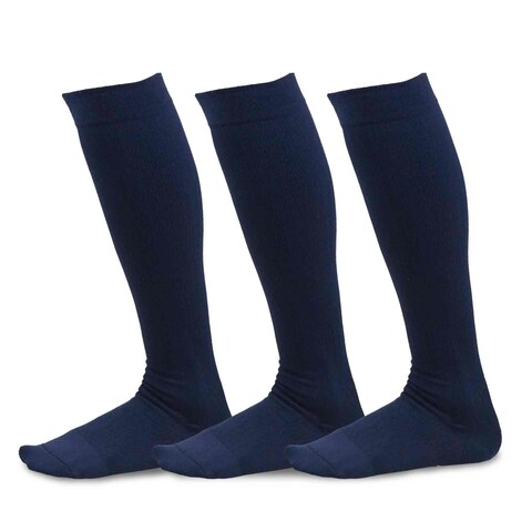 TeeHee Viscose from Bamboo Compression Knee High Socks with Rib 3-Pack (Navy)