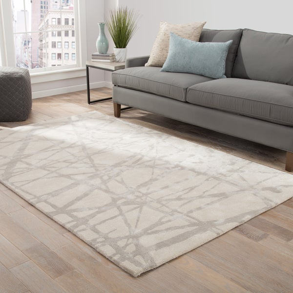 Nikki Chu by Jaipur Living Avondale Handmade Abstract White/ Gray Area Rug (8' X 10') - 8' x 10'