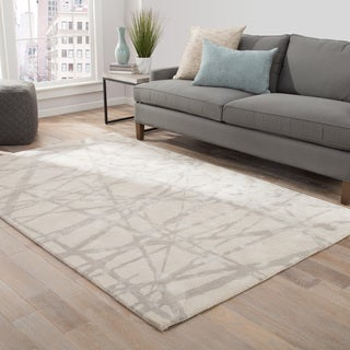 Nikki Chu Avondale Handmade Abstract White/ Gray Area Rug (8' X 10') - 8' x 10'