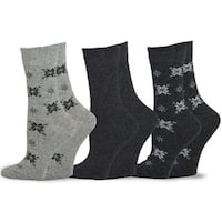 TeeHee Women's Marled Wool Socks Crew 3-pair Pack