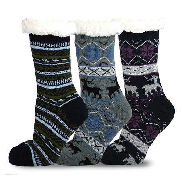 Teehee Women's Soft Premium Thermal Double-layer 3-pair Crew Sock Set. Opens flyout.