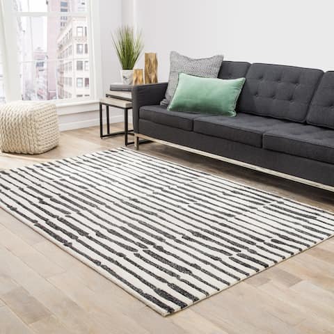 "Nikki Chu Saville Handmade Abstract White/ Black Area Rug (8' x 10') - 7'10"" x 9'10"""
