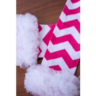 Hot Pink Zig Zag And White Ruffle Leg Warmers
