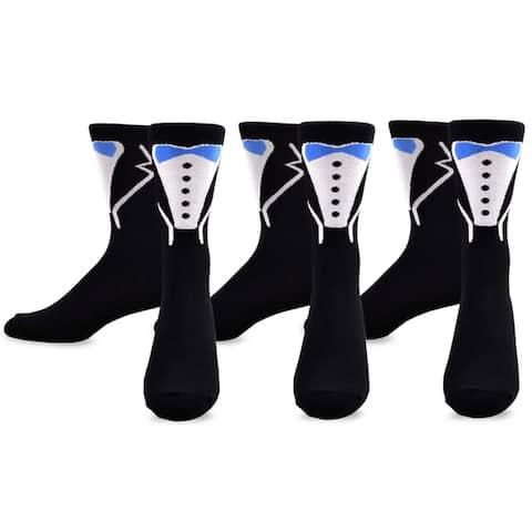 TeeHee Mens Wedding Cotton Crew Socks 3-Pack