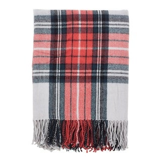 Classic Plaid Pattern Tassel Trim Throw