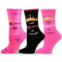 TeeHee Women Birthday Cotton Crew Socks 3-Pack
