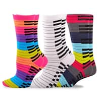 TeeHee Music Cotton Crew Socks for Women and Men 3-Pack (Piano Key)