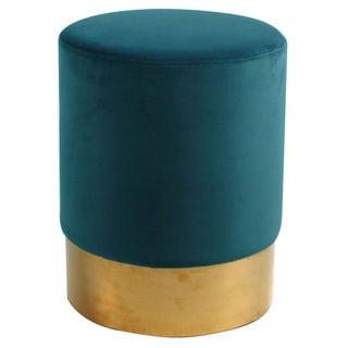 Oliver Velvet Round Cushioned Seat Ottoman