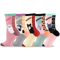 TeeHee Women's Fun Cats Cotton Crew Socks 5-Pack