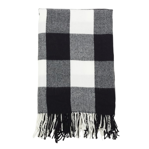 Buffalo Plaid Check Tassel Throw