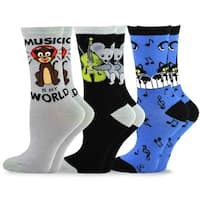 TeeHee Music Cotton Crew Socks for Women and Men 3-Pack (Animal Music)