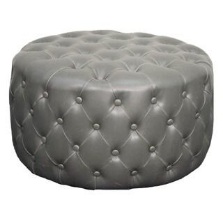 Lulu Tufted Round Bonded Leather Ottoman