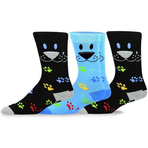 TeeHee Mens Fun Dogs Cotton Crew Socks 3-Pack
