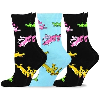 TeeHee Women's Fun Dogs Cotton Crew Socks 3-Pack