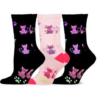 TeeHee Women's Fun Cats Cotton Crew Socks 3-Pack