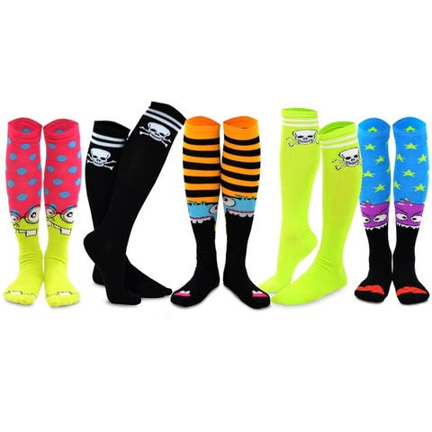 TeeHee Womens Cotton Knee-high Novelty Socks 5 pair