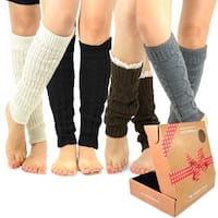 TeeHee Women's Fashion Leg Warmers 4-Pack Assorted Colors