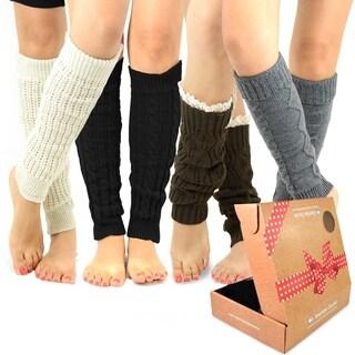 TeeHee Women's Fashion Leg Warmers 4-Pack Assorted Colors