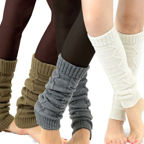 TeeHee Women's Assorted Color Fashion Leg Warmers (Pack of 3)