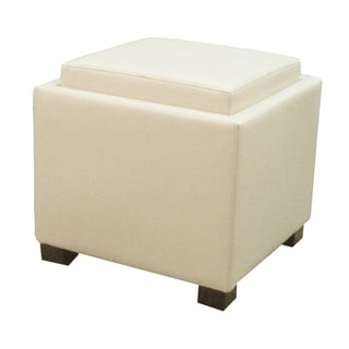 Venzia Storage Bonded Leather Square Ottoman