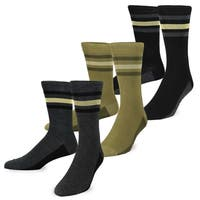 TeeHee Men's Mercerized Cotton Crew Dress Socks 3-pack