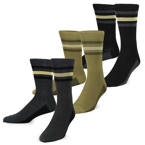 TeeHee Mens Mercerized Cotton Crew Dress Socks 3-pack