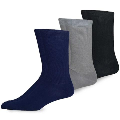 TeeHee Mens Bamboo Crew Dress Socks 3-pack