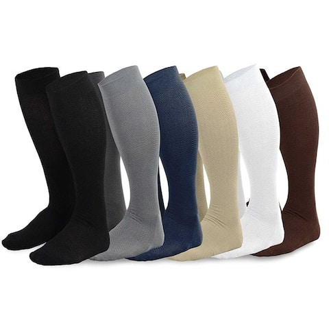 Teehee Mens Viscose Assorted Color Over-the-calf Dress Socks 6 Pack