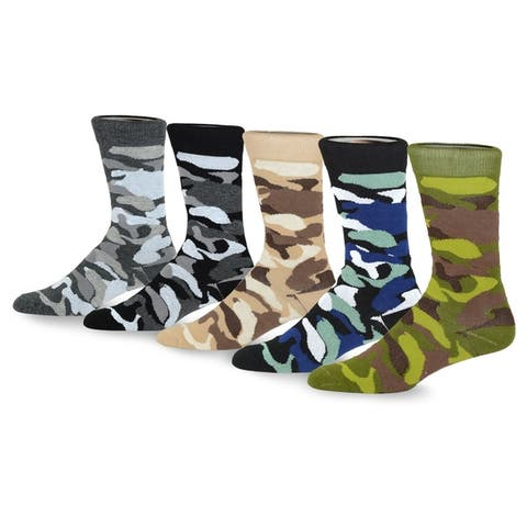 TeeHee Mens Fun and Fashion Cotton Crew Socks 5-Pack