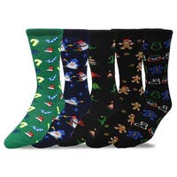 TeeHee Men's Christmas and Holiday Fun Crew Socks (Pack of 5)