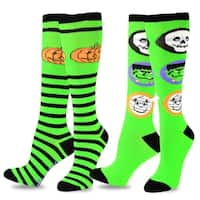 TeeHee Novelty Halloween Fun Knee High Socks for Women 2-Pack