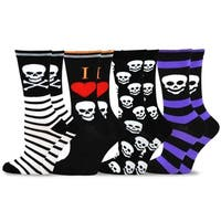 TeeHee Novelty Happy Halloween Fun Crew Socks for Women 4-Pack